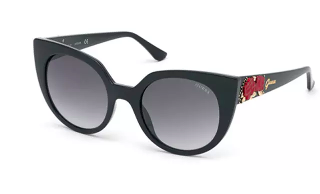 Guess sunglass Black cat eye fashion luxury red roses embossed