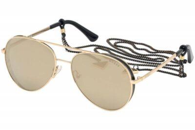 Guess GU7607 32G Gold Mirrored Brown flashy fashion aviator womens sunglass culture with sunglass chain cord