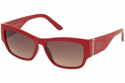 Guess GU7623 66F Shiny Red Brown Gradient cat eye square rectangle fashion women's sunglass culture