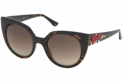 Guess GU7611 52G Brown tort with red roses Brown Gradient women's fashion sunglass culture