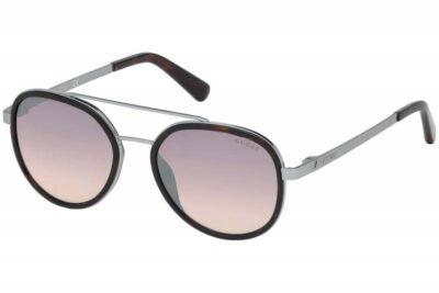 Guess Sunglass Eyewear GU6949 52G Brown mirrored pink lens round aviator fashion sunglass
