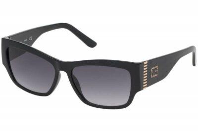 Guess eyewear sunglass GU7623 01B black grey cat eye square rectangle womens fashion sunglass culture