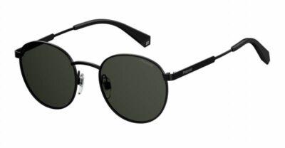 Polaroid Eyewear PLD 2053-S-807-M9 black Grey round polarised festival Fashion metal mens womens Sunglass culture front